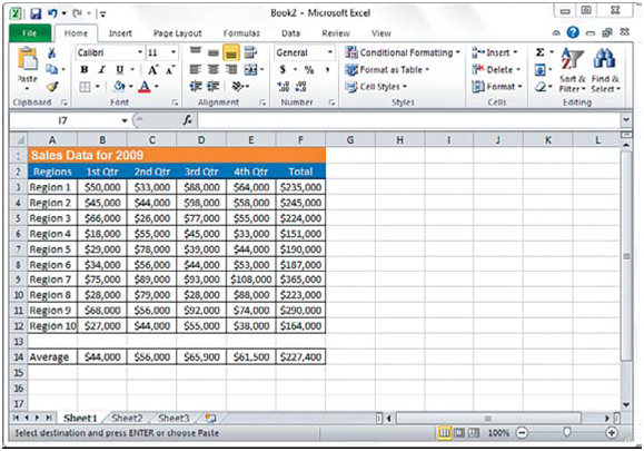Navigate between Microsoft Excel 2010 Work Sheets