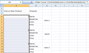 Increment cell values in excel on new record