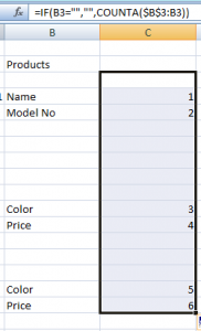 Increment cell values in excel using count a