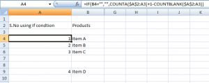 Increment cell values in excel using if formula